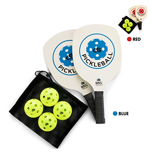 Day 1 Sports Pickleball Paddle Starter Set with 2 Blue Paddles, Carry Bag, 4 Indoor Pickle Balls Beginner and Recreational Pickleball Kit with Lightweight, Wooden Rackets and Accessories