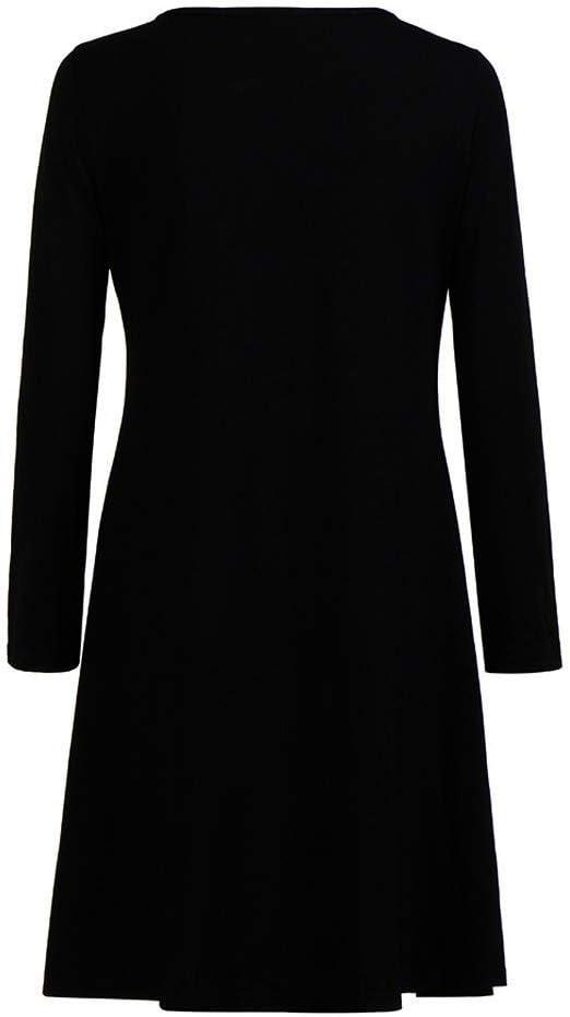 WUSIKY Weihnachtskleider für Damska Geschenk für Frauen Weihnachtskleid Christmas gedruckt Langarm Abend Prom Kostüm Swing Dress: Odzież