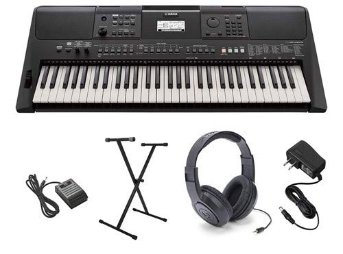 Yamaha PSR-E463 Ultra-Premium Keyboard Package with Stand, Sustain Pedal, Headphones, and AC Adapter ()