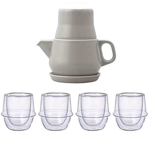 KINTO Gray Tea For One and Four KRONOS Double Wall Glass Espresso Cup, Set of 5 by KitcheNova (Image #5)