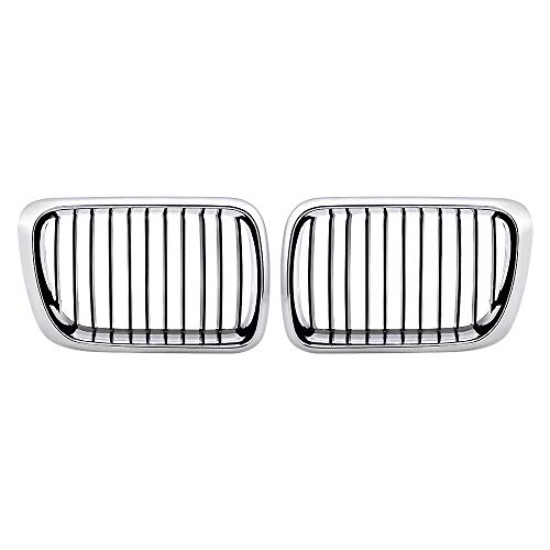 2pcs Chrome Black Front Hood Kidney Grille Grill Replacement for 1997-1999 BMW E36 318i 323ic 328i 323i