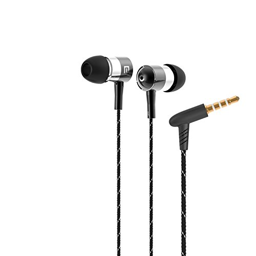 Universal In-Ear Braided Cord Metallic Stereo High Definition 3.5mm Plug Noise-Isolation Headphones Earphones Earbuds EarPods With built in Microphone & Volume Control For Apple iPhone 6, 6 Plus 5S 5C 5 4S 4/ Samsung Galaxy S6, S6 Edge / Galaxy Note 4 / HTC Lumia Blackberry Sony Xiaomi