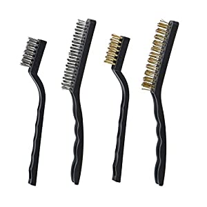 IMISNO Scratch Brush Set with 2 sizes Curved Handle Heavy Duty Wire bristle for Cleaning Welding Slag and Rust (Stainless and Brass)