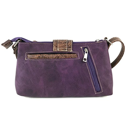Tooled Rhinestone Crossbody Justin Messenger Buckle West Bag Long Purse Purple Western with Strap Cut Laser q0w7rETXx7