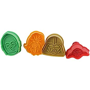 Set of 4 Star Wars Plunger Cookie Cutters: Darth Vader, C-3PO, Yoda and Chewbacca