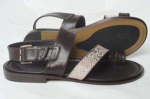 Giampieronicola 5076 Sandali Italiani In Pelle Stampa Pitone Marrone / Beige Con Cinturino Posteriore