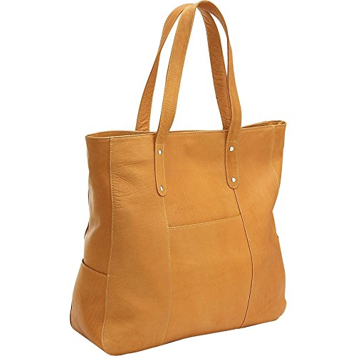Le Donne Leather Slip Pocket Tote, Tan by Le Donne Leather