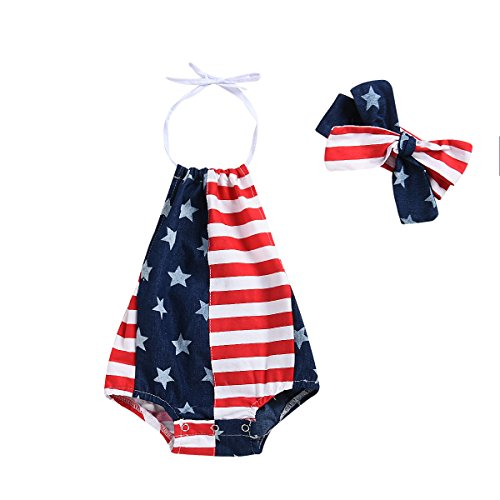 er Outfits Clothes 4th of July 2018 Star Straps Romper Headband 2Pcs Set for 6-24 Months (Blue, 0-6 Months) ()