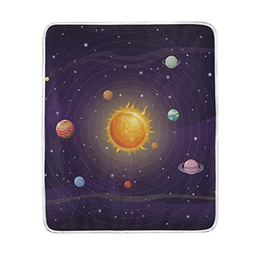 WIHVE Throw Blanket Space Solar System Lightweight Warm Cozy Microfiber Blankets Travelling Camping 50 x 60 Inch, All Season for Couch or Bed by WIHVE