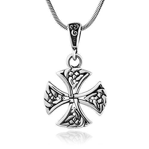 Chuvora 925 Oxidized Sterling Silver Celtic Knot Cross Symbol Pendant Necklace, 18 inches - Nickel Free