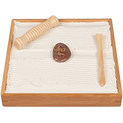 "Desktop Zen Garden - Unique Play Sand For Shape Building And Relaxation - With Rake And Roller (10"" by 10"")"