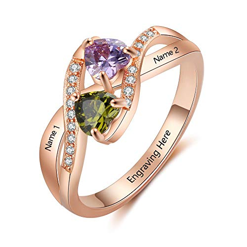 Lam Hub Fong Personalized Engagement Rings for Women Engravable 2 Simulate Birthstones Wedding Promise Name Rings Rose Gold (Size ()