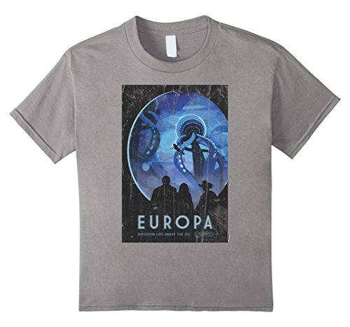 Kids NASA T-Shirt Space Travel Poster Europa 12 Slate