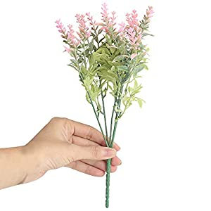 Mikilon Artificial Lavender Flowers 1 Pcs for Flower Arrangement Crafts Nearly Natural Fake Plant to Brighten up Your Home Party and Wedding Decor (Pink) 28