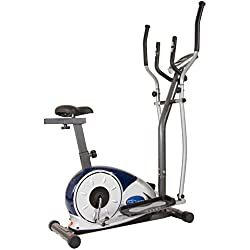 Body Max BRM3671 Body Champ 2 in 1 Cardio Dual Trainer / Elliptical Workout and Upright Exercise Bike with Heart Rate, Computer Resistance