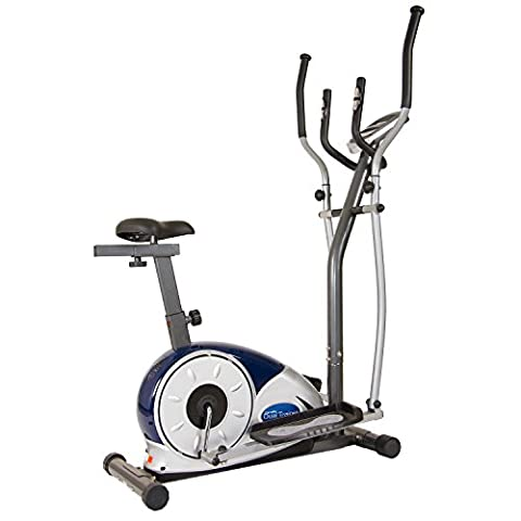 Body Champ 2 in 1 Cardio Dual Trainer Elliptical Workout and Upright Exercise Bike with Heart Rate Exercise - Home Elliptical Trainer