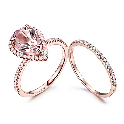 Pave Set Pink Diamonds - Pear Shaped Pink Morganite Engagement Ring Set Rose Gold Claws Halo Diamond Micro Pave Matching Band Sets