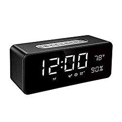Orionstar Alarm Clock Radio with FM, Wireless Speaker for Bedroom with 8 Inch LED Screen Snooze Sleep Timer Dimmer USB Port Thermometer Display TF AUX Micro SD Widely Compatible Model S1