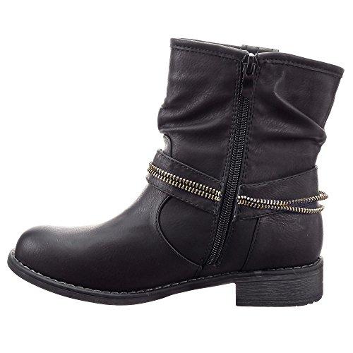 Sopily - Scarpe da Moda Stivaletti - Scarponcini Cavalier Biker alla caviglia donna fibbia Zip Tacco a blocco 3 CM - soletta sintetico - foderato di pelliccia - Nero