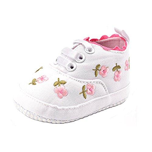 Meijunter Baby Schuhe Junge Mädchen Segeltuch Kleinkind Anti-Rutsch Erstes Gehen Drucken Krippe Schuh 0-24 Monate Weiß