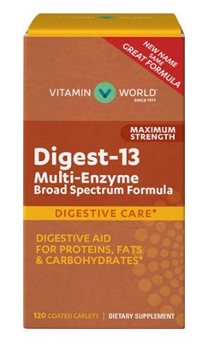 Digest-13 Multi-Enzyme Broad Spectrum Formula Maximum Strength 120 Coated caplets
