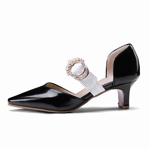 Carolbar Women's New Style Fashion Beaded Block Mid Heel Court Shoes Black exuGp3yO5J