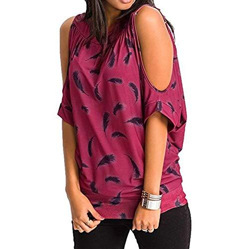 Manica Shoulder Elegante O Rose Casual Sciolto Stampate Estivi Moda Piuma Stlie Magliette Off Corta collo Grazioso Donna Shirts Camicetta Bluse 8wEHqWx1xt