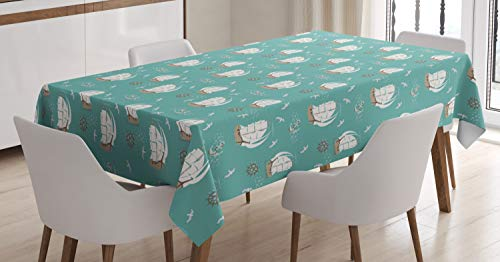 (Ambesonne Sailing Tablecloth, Repeating Seagulls Pirate Clipper Ship Anchor Marine Illustration, Dining Room Kitchen Rectangular Table Cover, 60 W X 84 L Inches, Pale Teal Ivory Pale Seafoam )
