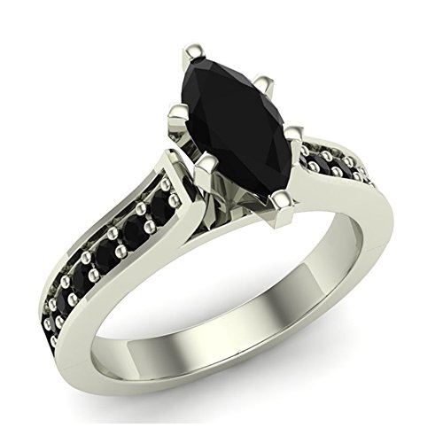 1.50 ct tw Black Marquise Diamond Engagement Ring 14K White Gold by Glitz Design