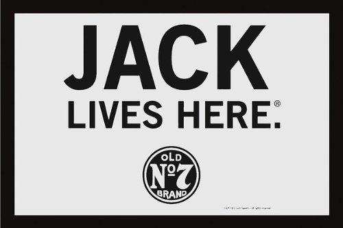 "Jack Daniels - Bar Mirror - Jack Lives Here (Size: 12"" x 9"")"