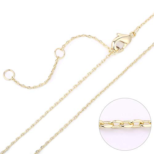 (Wholesale 6 PCS 14K Gold Plated Brass Cable O Chain Necklace Thin Fine Finished Chain Bulk for Jewelry Making)