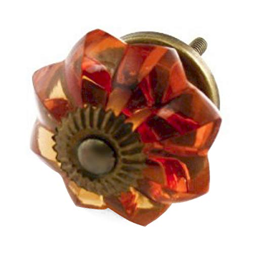 Polished Brass Euro Glass - Euro Girls Dresser Glass Knobs Cabinet Pulls Drawer Handle K237VM 8 Pack Large Amber Melon Knobs with Antique Brass Hardware. Romantic Decor & More