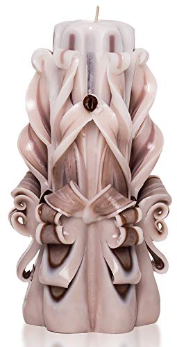 (Beige Brown White Hand Carved Candles 6