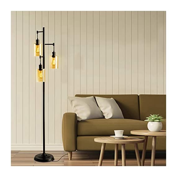 LEONLITE Industrial Floor Lamp with Amber Glass, 3-Head Vintage Track Tree Standing Lamp, 40W Retro Industrial Torchiere Floor Light, UL Listed for Living Room, 2-Year Warranty, Pack of 2 - Retro Style: This amber glass floor lamp adopts a retro style and the 3 included tungsten filament bulbs have a 360° beam angle that lights up every corner of your room Multiple Choices: This floor lamp matches ST64 and ST58 bulbs and we offer extra 2200K 3 40W tungsten filament bulbs Perfect Design: 18.11inch × 14.17inch × 10.24inch, this floor lamp gives the right amount of light you need when you sit on the sofa. It's the best choice for the living room, study room, dining room, bedroom and other indoor living spaces - living-room-decor, living-room, floor-lamps - 4139IVQCIGL. SS570  -
