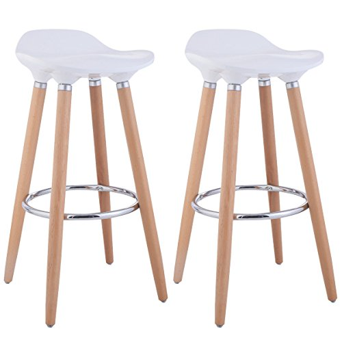 Round Style Weight Bar - Costway Set of 2 ABS Eames Style Chair Bar Stool Modern Metal Barstool Counter Stools with Wooden Legs Kitchen Furniture White