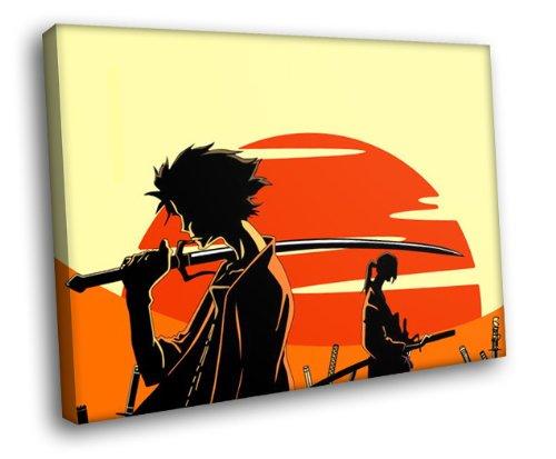 (HD7479 Samurai Champloo Mugen Jin Sunset Anime Manga Art 16x12 FRAMED CANVAS)