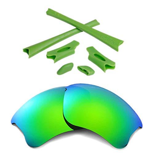 (Walleva Emerald Polarized Lenses and Green Rubber Kit for Oakley Flak Jacket XLJ)