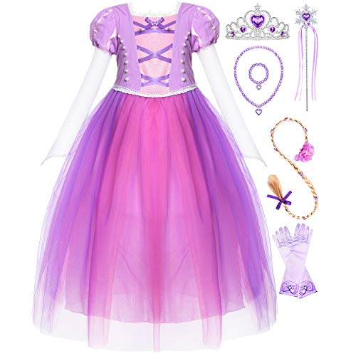 Long Hair Costume Princess Rapunzel Generic Dress Up with Long Braid and Tiara for Girls Party ()