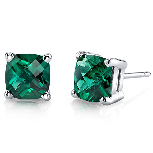 14 Karat White Gold Cushion Cut 1.75 Carats Created Emerald Stud Earrings