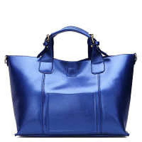 Zhi Retro Casual Mujer De Cuero Para Asas Hombro Wu Bolsos Capacidad Genuino Superior Vintage Blue Asa Gran dYvTfxqnZ