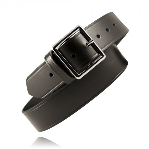 1.75 Inch Leather Casual Belt - Boston Leather 6605-1-36B Black Plain Value Line Brass Garrison Belt 1.75