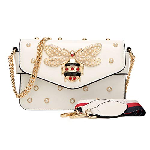 Dating Wild El Mochila Chain Bag Hombro Rivet Pearl Para Wide Correa Ladies Blanco Bandolera qvFPxwaC