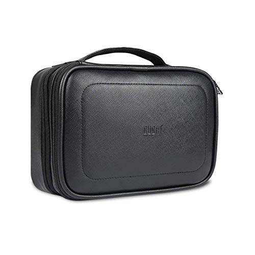 BUBM Electronic Organizer, PU Double Layer Travel Accessories Storage Bag for Cord, Adapter, Battery, Camera and More-a Sleeve Pouch for iPad or up to 9.7