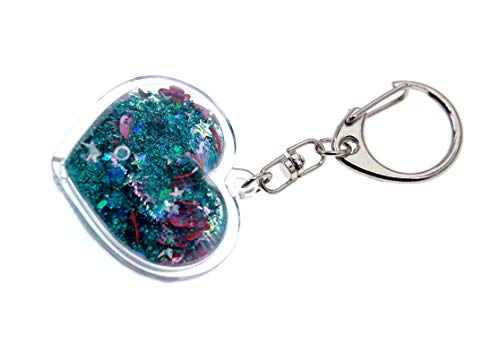 Creationtop Liquid Keychain Fashionable Glitter Powder Moving Floating Keychain (Heart/Green/Pink Hearts)