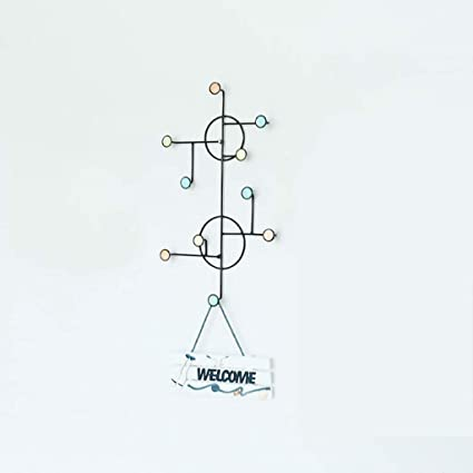 coat rack wall mounted simple color with hooks, multi-functional creativity dot  iron art