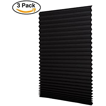 """Sunfree 3 Pack Light Filtering Pleated Fabric Shade Black,Quick Fix and Easy to Install, 48"""" x 72"""", with 6 Clips"""