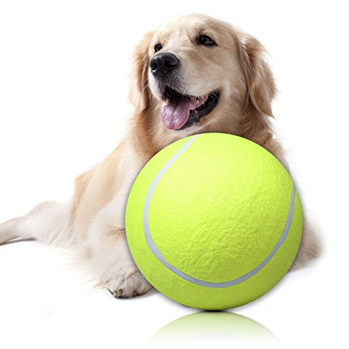 Mimgo Pet Dog Puppy 9.5 Inch Big Giant Tennis Ball Thrower Ball Play Toy (Dog Goose Costume)
