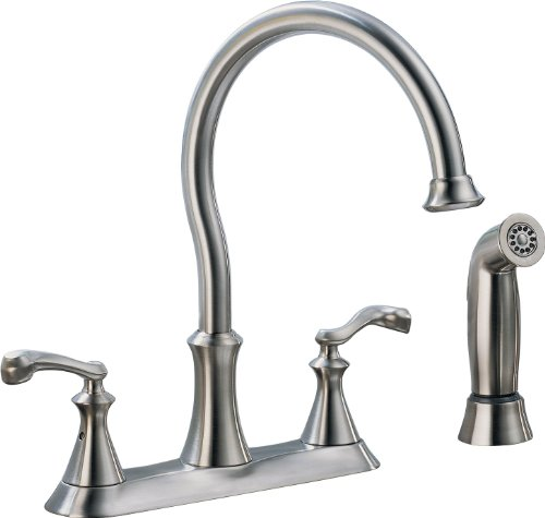 Delta 21925LF-SS Vessona Two Handle Kitchen Faucet with spray, (Ss Two Handle Kitchen)
