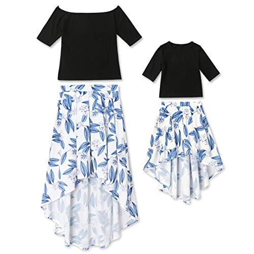 - Mommy and Me 1/2 Sleeve T-Shirt Leaf Printed Tunic Skirt Dress Family Matching Maxi Dress 2Pcs Set (S, Mom)