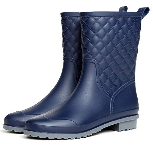 Barerun Ladies Mid Calf Rain Shoes Girls Rain Bootie Waterproof Garden Outdoor Platform Shoes Blue 10.5 M US